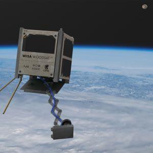 Visualisaatio Wisa Woodsat -puusateliitista avaruudessa