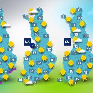 Sääennuste viikonlopuksi 16.4. – 18.4.2021. Sää on aurinkoista lähes koko maassa.