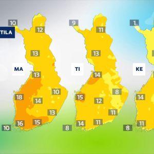 Kolmen seuraavan päivän korkein lämpötilaennuste.