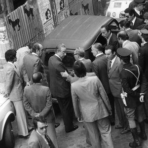 Aldo Moro ruumiin löytöpaikka vuonna 1978.