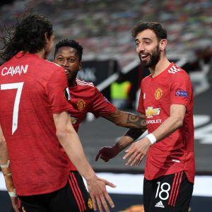 Manchester Unitedista juhlivat Bruno Fernandes, Fred ja Edinson Cavani
