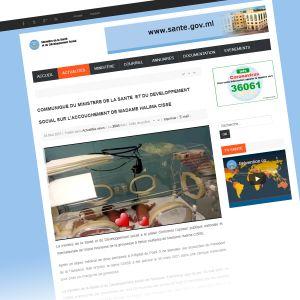 Kuvakaappaus Malin terveysministeriön sivusta.