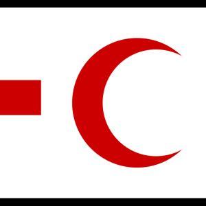 Punaisen Ristin ja Punaisen Puolikuun logoista tehty grafiikka.