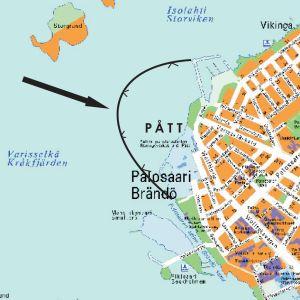 Kartta Påttin edustasta. Heikon jään alue merkitty karttaan kaarella.