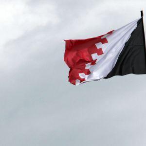 Kuvassa Joensuun kaupungin lippu.