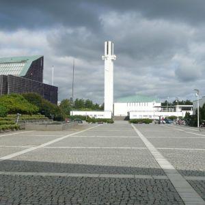 Seinäjoen Aalto-keskus lakeuden risti, kaupungintalo ja kirjasto.