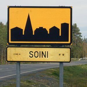 Taajamamerkki Soinissa.