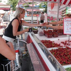ihmisiä mansikkakojulla