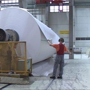 Paperityöntekijä työnsä ääressä Stora Ensolla Veitsiluodossa