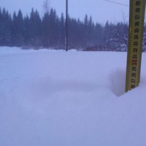 Lumihanki ja mittanauha työnnettynä hankeen.