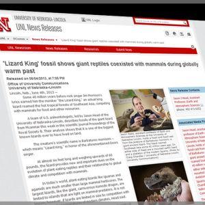 Kuvarevinnäinen University of Nebraska-Lincolnin nettisivusta, joka käsittelee jättimatelija-aihetta, Barbaturex morrisonia.