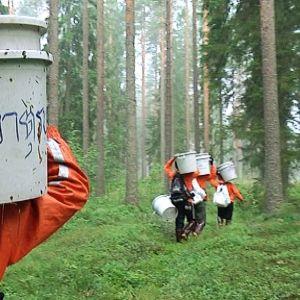 Thaimaalaiset marjanpoimijat kantavat marjasankoja metsässä.