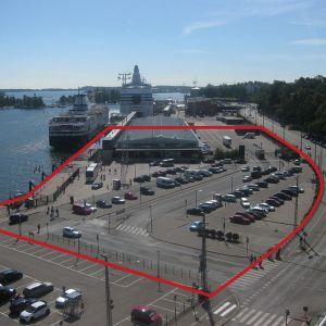Alue, johon Helsingin Guggenheim-museot suunnitellaan rakennettavaksi.