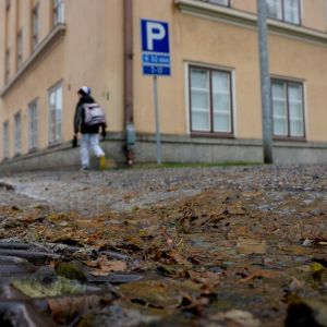 Syksyn lehtiroskaa ja sadevesiviemäri Kuopiossa