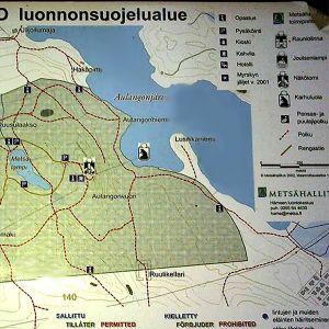Aulangon luonnonsuojelualueen kartta.