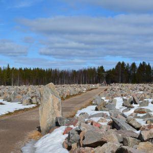 """Talvisodan monumentin keskellä on muistomerkki """"Avara syli """", jossa on 105 vaskikelloa, yksi jokaista talvisodan päivää kohti."""