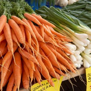 Carrots and onions on sale.