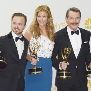 Breaking Bad -sarjan tähdet Aaron Paul (vas.), Anna Gunn and Bryan Cranston.
