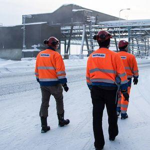 Talvivaaran työntekijät kävelevät tehtaalla