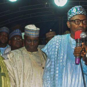 Muhammadu Buhari puhumassa vaalitilaisuudessa Bauchissa, Nigeriassa 25. maaliskuuta.
