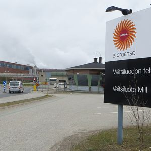 Stora Enson Veitsiluodon tehtaan portti.