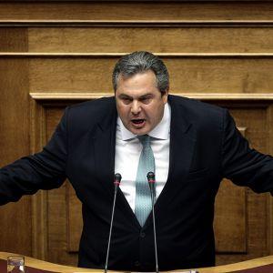 Itsenäiset kreikkalaiset -puolueen puheenjohtaja Panos Kammenos Kreikan parlamentissa 27. kesäkuuta.