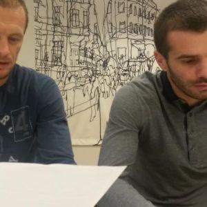 OPS-jalkapalloseura ry:n pelaajat Nikitović (vasemmalla) ja Ivica Milutinović.