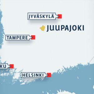 Suomen kartta johon on merkitty Juupajoen sijainti ja muita suuria kaupunkeja.