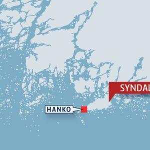 Kartta, jossa Hanko ja Syndalen.