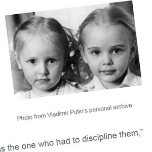 Putinin tyttärien lapsuudenkuva on julkaistu Venäjän presidentinhallinnon kotisivuilla.