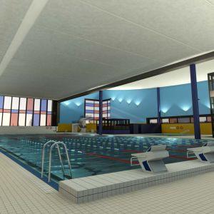 Uimahalli Ounasvaaralle. Suunnittelukuva uimahallin sisältä.