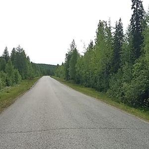 Kapea päällystetty tie asumattomassa maisemassa