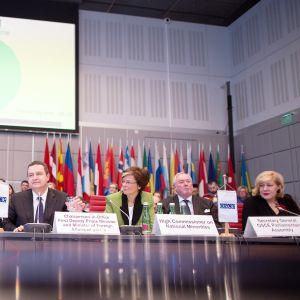 Vähemmistövaltuutettu Astrid Thors (toinen oikealta) Etyjin kokouksessa Wienissä, Itävallassa, tammikuussa 2015.