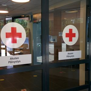 Vaasan keskussairaalan akuuttiosaston pääsisäänkäynti.