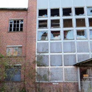 Rikottuja ikkunoita vanhalla vaneritehtaalla.
