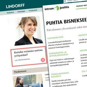 Kuvakaappaukset Lindorffin ja Intrum Justitian nettisivuilta.