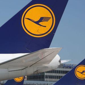 Lufthansan lentokoneita.