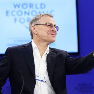 Adecco Groupin toimitusjohtaja Alain Dehaze osallistui paneelikeskusteluun Maailman talousfoorumissa Davosissa, Sveitsissä, 17. tammikuuta.