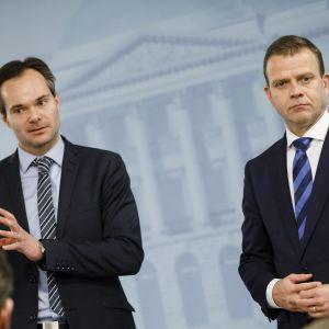 Ulkomaankauppaministeri Kai Mykkänen ja Valtiovarainministeri Petteri Orpo.