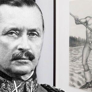 Käsitelty kuva, jossa Carl Gustaf Emil Mannerheimin kasvot liitetty Tom of Finland -näyttelystä otettuun valokuvaan.