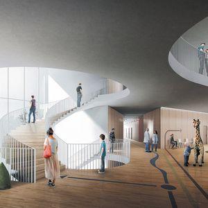 Havainnekuva Lapin keskussairaalan laajennusrakennuksesta Rovaniemellä.