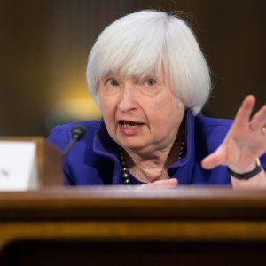 Yhdysvaltain keskuspankin pääjohtaja Janet Yellen puhui tiistaina 14. helmikuuta 2017 Yhdysvaltain senaatin pankkikomitealle.