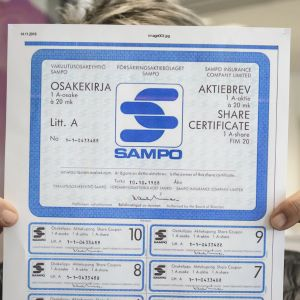 Sampon osakekirjamalli vuodelta 1988.