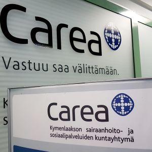Carea-teksti Kymenlaakson keskussairaalan sisällä
