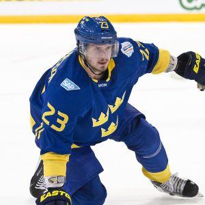 Arizonan Oliver Ekman-Larsson oli Ruotsin puolustuksen tukipilareita jääkiekon World Cupissa syyskuussa.
