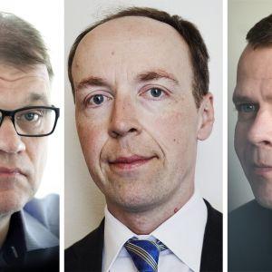 Juha Sipilä, Jussi Halla-aho ja Petteri Orpo