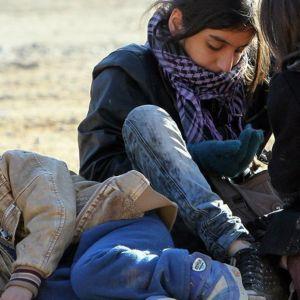 Syyrialalaislapsia pakolaisleirillä Presevossa Serbiassa