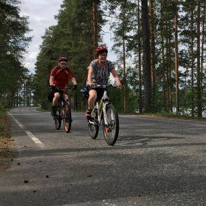 Polkupyöräilijät Punkaharjun Harjutiellä.