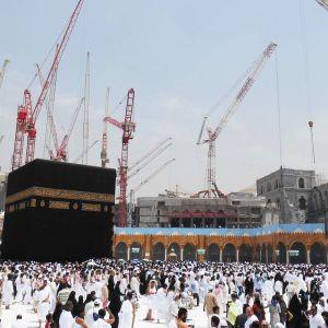 Islamin pyhin paikka Kaaba rakennustyömaiden ympäröimänä.