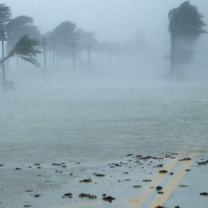Hylätty auto hurrikaani Irman pyyhkiessä Fort Lauderdalen yli Floridassa 10. syyskuuta.